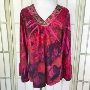 B.L.U.E. Fuchsia Floral Sequin Trim Tunic Sweater